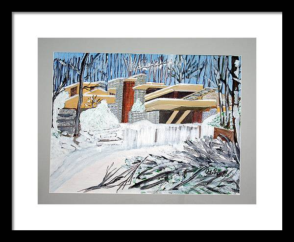 Franklloyd Wright Fallingwater Framed Print featuring the painting Fallingwater by Patricia Fragola