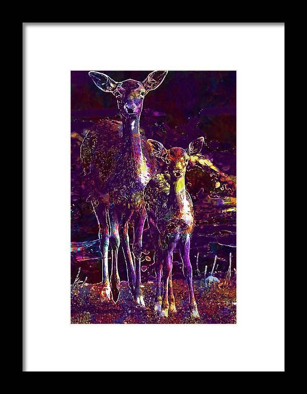Fallow Framed Print featuring the digital art Fallow Deer Doe Fawn Hirsch Young by PixBreak Art