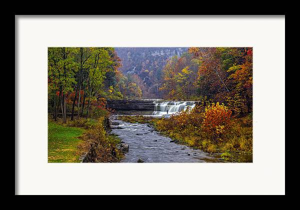 Taughannock Falls State Park Framed Print featuring the photograph Falls Fishing by Mark Papke