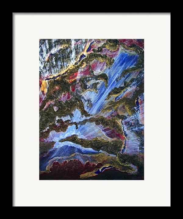 Semi Abstract Rush Of Blue And White Water Falling Down To A White Cloud Framed Print featuring the painting Falls by Pam Ellis