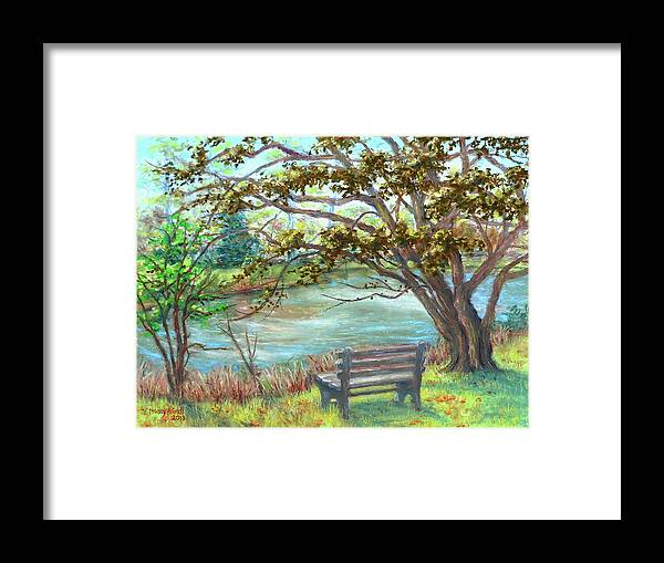 Framed Art Framed Print featuring the painting Fallsmead Lake In Potomac Md by Nancy Heindl