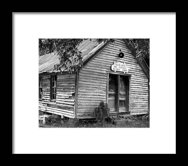 Wood Framed Print featuring the photograph falnH2OchurchBW by Curtis J Neeley Jr