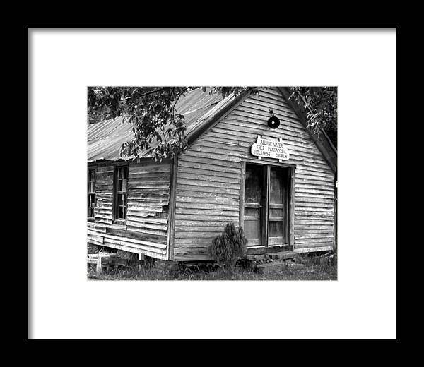 Wood Framed Print featuring the photograph falnH2OchurchBW by Curtis J Neeley Jr