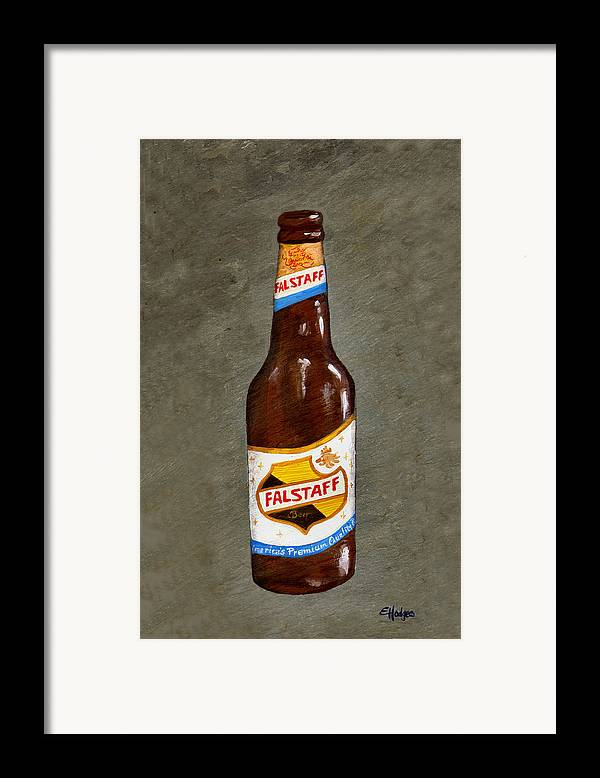 Beer Framed Print featuring the painting Falstaff Beer Bottle by Elaine Hodges