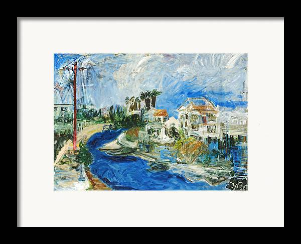 Town Houses Trees Palmtrees Street Blue Sky Framed Print featuring the painting Famagusta by Joan De Bot