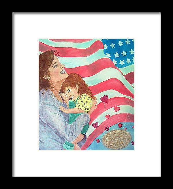Flag Framed Print featuring the painting Family Country And Apple Pie by Kathern Welsh