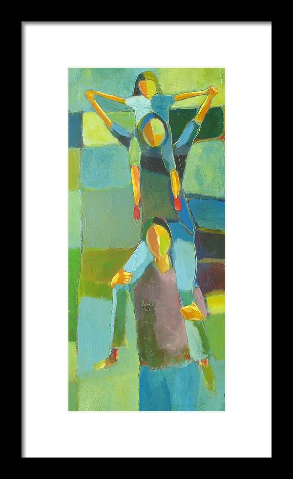 Abstract Framed Print featuring the painting Family Joy by Habib Ayat