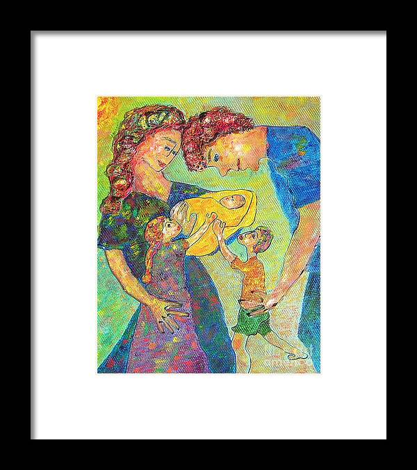 Family Enjoying Each Other Framed Print featuring the painting Family Matters by Naomi Gerrard