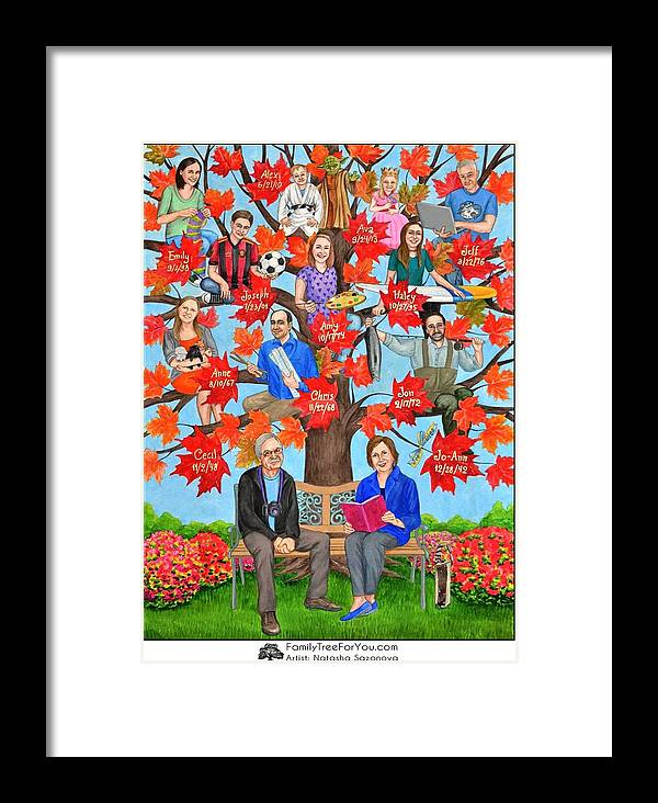 70th Birthday Gift Mom Framed Print Featuring The Painting Family Tree Art As