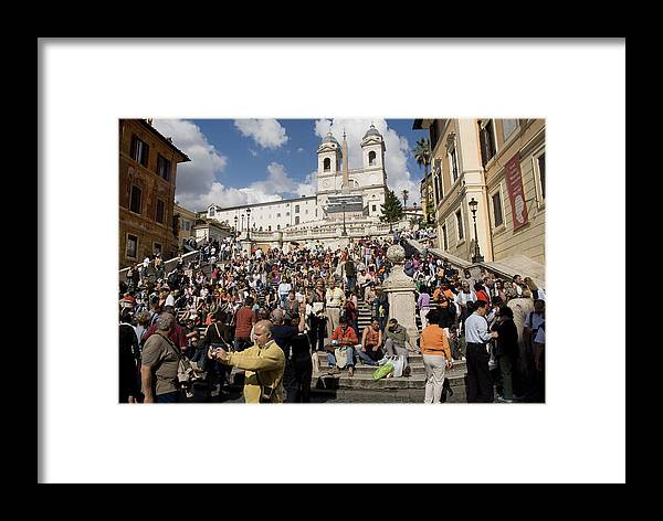 Spanish Steps Framed Print featuring the photograph Famoust Spanish Steps In Rome by Charles Ridgway
