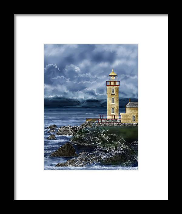 Lighthouse Framed Print featuring the painting Fanad Head Lighthouse Ireland by Anne Norskog