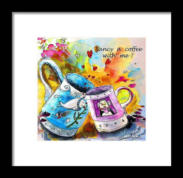 Cafe Crem Framed Print featuring the painting Fancy A Coffee by Miki De Goodaboom