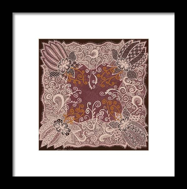 Hankie Framed Print featuring the painting Fancy Antique Lace Hankie by Jenny Elaine