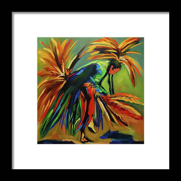 Diane Whitehead Native Framed Print featuring the painting Fancy Dancer by Diane Whitehead