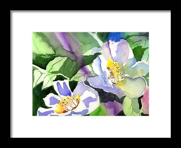 Floral Framed Print featuring the painting Fancy Flowers by Janet Doggett