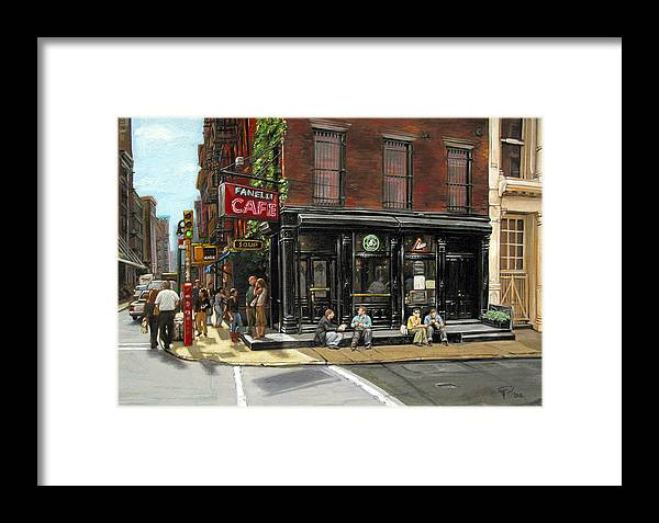 Fanelli's Cafe Framed Print featuring the painting Fanelli Cafe by Ted Papoulas