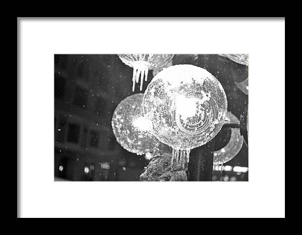Faneuil Framed Print featuring the photograph Faneuil Hall Lollypop Light Icicles Boston Ma Black And White by Toby McGuire