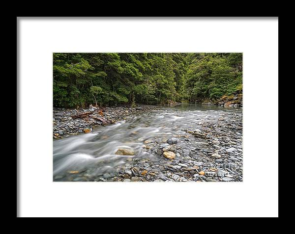 New Zealand Framed Print featuring the photograph Fantail Falls by Paul Woodford