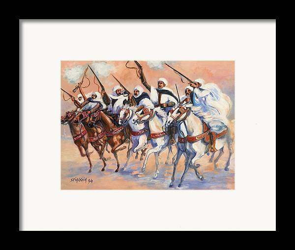 Fantasia Framed Print featuring the painting Fantasia Algerienne by Josette SPIAGGIA