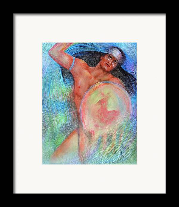 Native American Framed Print featuring the painting Fantasy Brave by Elizabeth Silk