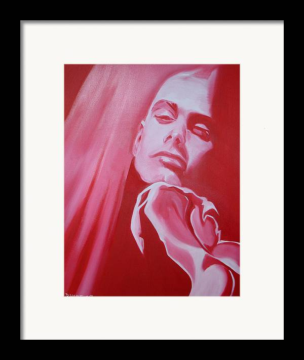 Erotic Male Portrait Abstract Red Framed Print featuring the painting Fantasy by Davinia Hart