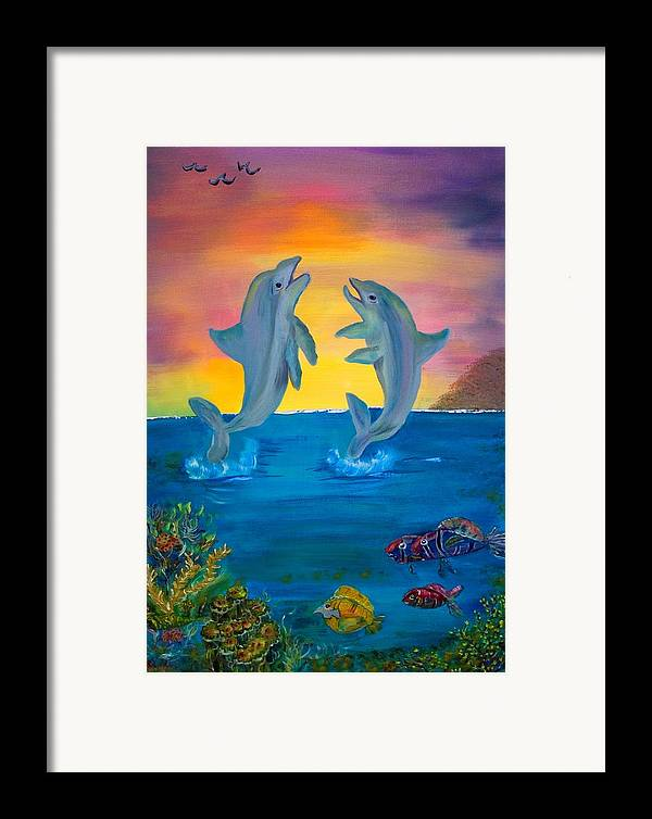 Original Framed Print featuring the painting Fantasy Dolphins by Mikki Alhart