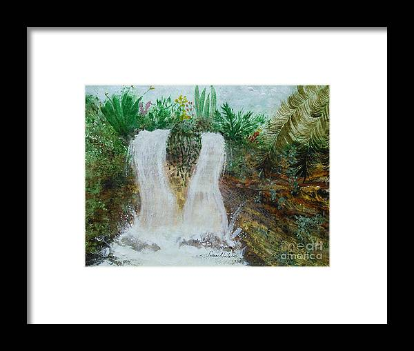 Colorful Framed Print featuring the painting Fantasy Falls by Susan Nielsen