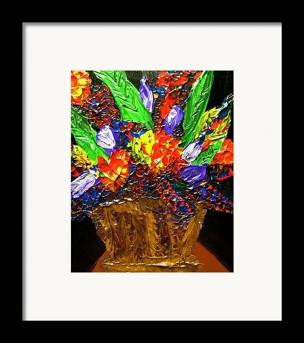 Flowers Framed Print featuring the painting Fantasy Flowers by Karen L Christophersen