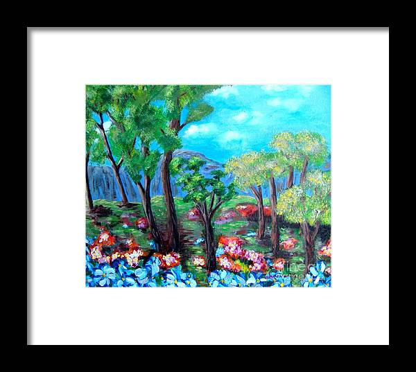 Fantasy Framed Print featuring the painting Fantasy Forest by Laurie Morgan