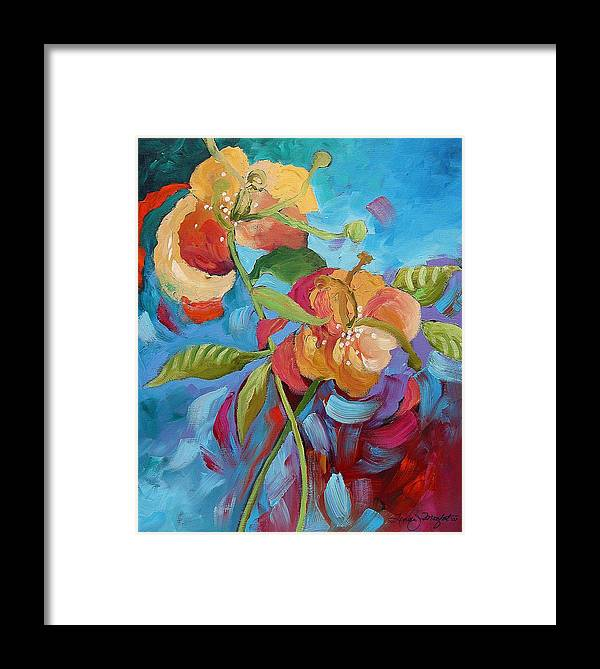 Original Framed Print featuring the painting Fantasy Garden by Linda Monfort
