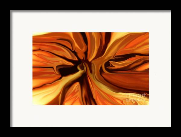 Abstract Framed Print featuring the digital art Fantasy In Orange by David Lane