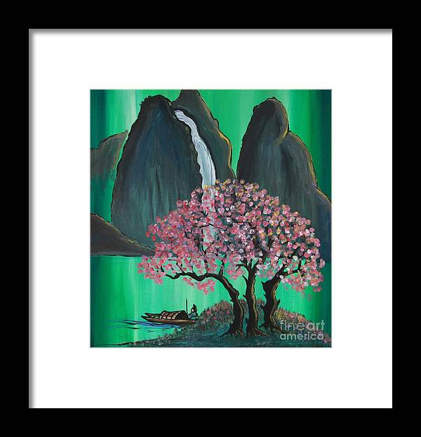 Japan Framed Print featuring the painting Fantasy Japan by Jacqueline Athmann