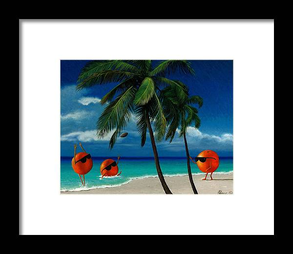 Oranges Painting Palm Trees Ocean Blue Sky Sunglasses Football Fantasy Framed Print featuring the painting Fantasy-oranges Playing Football by Daniel Pierce