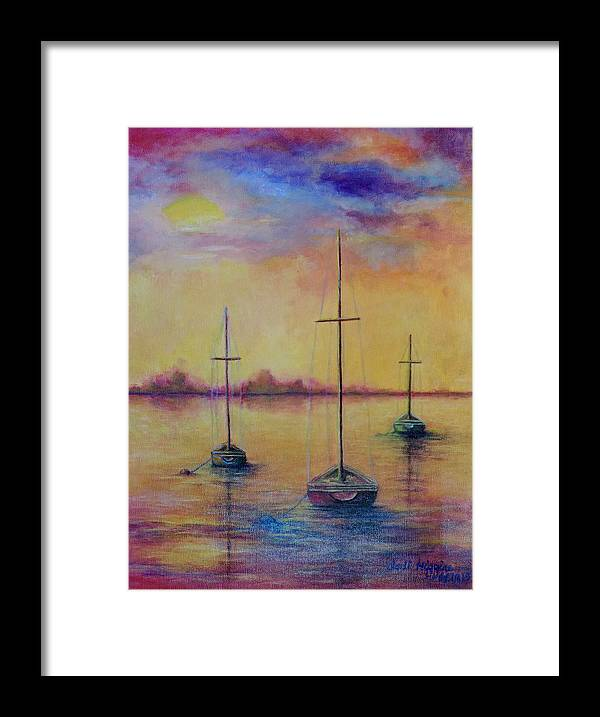 Yellow Framed Print featuring the painting Fantasy Sailboats by Jodi Higgins