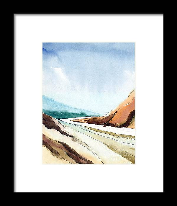 Landscape Framed Print featuring the painting Far Away by Anil Nene