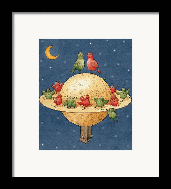 Planet Space Cosmos Love Birds Children Green Red Framed Print featuring the painting Far Planet by Kestutis Kasparavicius