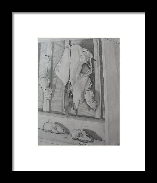 Skeietons Framed Print featuring the drawing Farm Boxed Skeletons by Matthew Handy