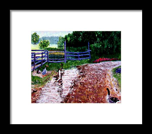Farm Geese Framed Print featuring the painting Farm Geese by Stan Hamilton