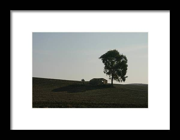 Landscape Framed Print featuring the photograph Farm House Alone. by Dennis Curry