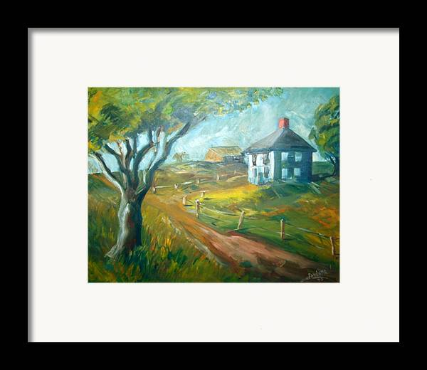 Landscape Farm House Framed Print featuring the painting Farm In Gorham by Joseph Sandora Jr