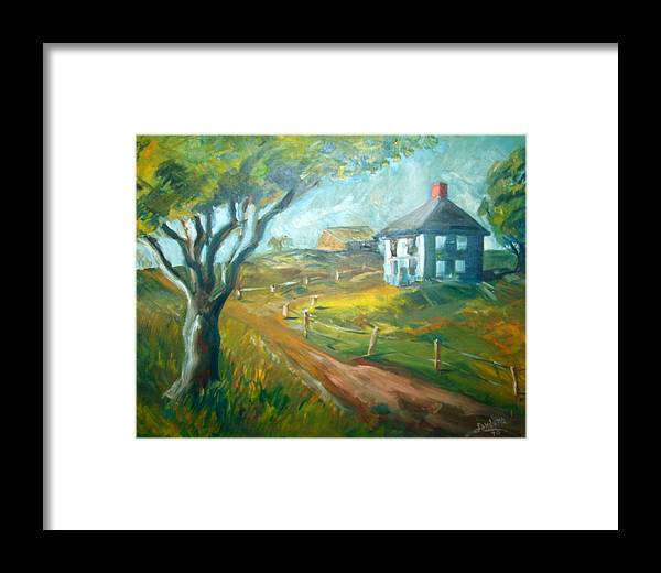 Landscape Farm House Framed Print featuring the painting Farm In Gorham by Joseph Sandora Jr
