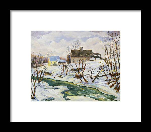 Farm Framed Print featuring the painting Farm In Winter by Richard T Pranke