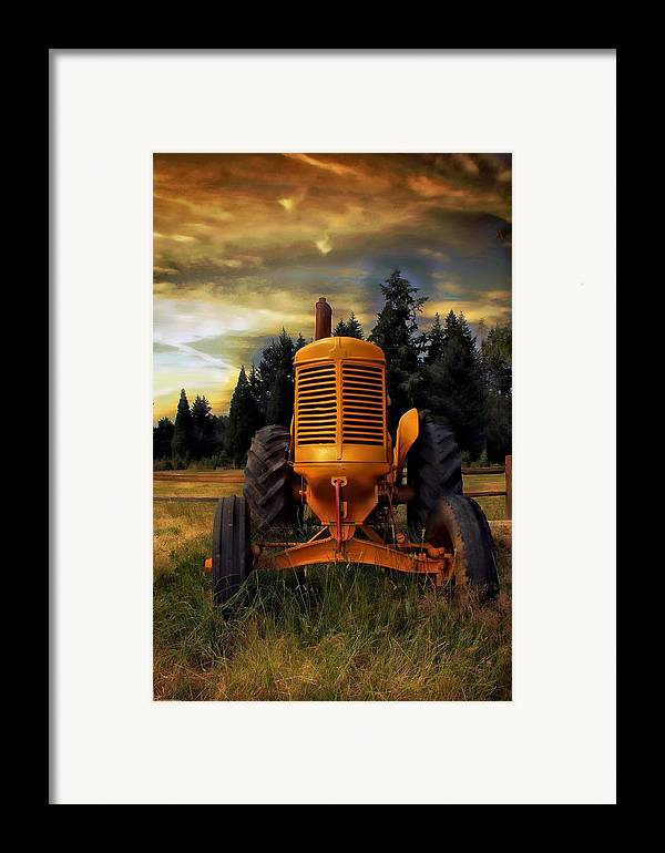 Tractor Framed Print featuring the photograph Farm On by Aaron Berg