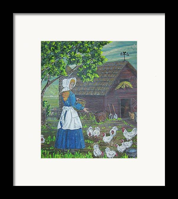 Barn Framed Print featuring the painting Farm Work I by Phyllis Mae Richardson Fisher