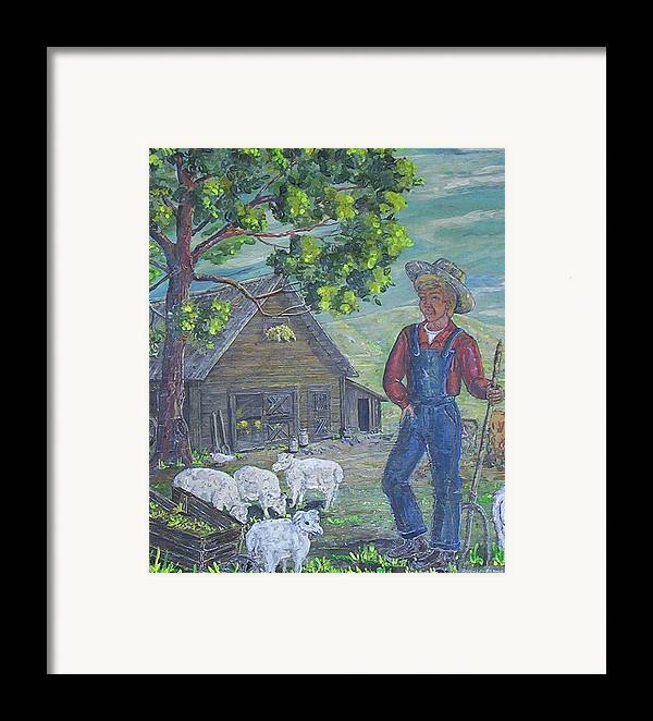 Barn Framed Print featuring the painting Farm Work II by Phyllis Mae Richardson Fisher