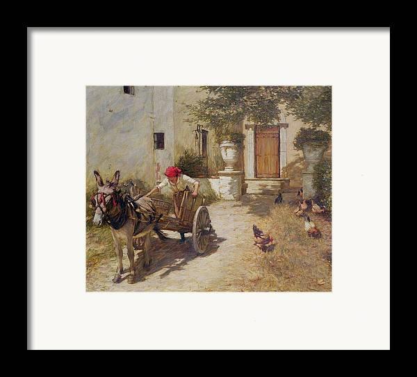 Farm Framed Print featuring the painting Farm Yard Scene by Henry Herbert La Thangue