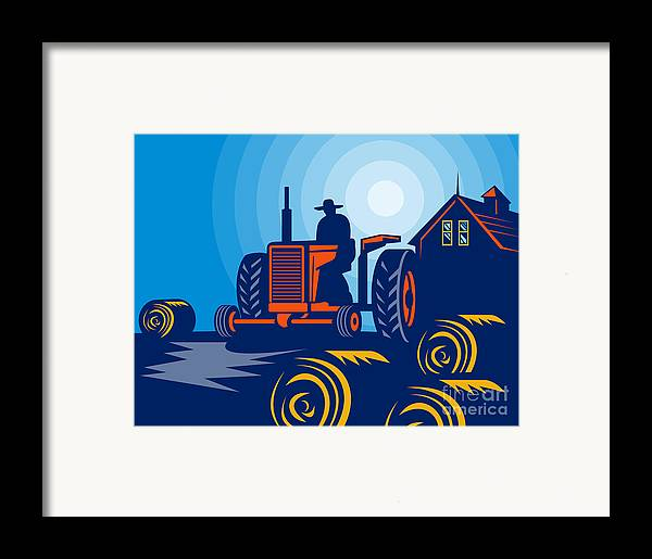 Tractor Framed Print featuring the digital art Farmer Driving Vintage Tractor by Aloysius Patrimonio