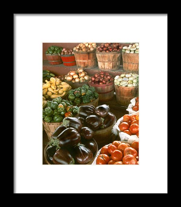 Vegetables Framed Print featuring the pyrography Farmers Market by Myrna Salaun