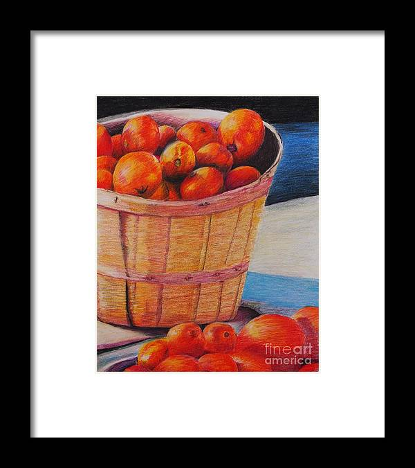Produce In A Basket Framed Print featuring the drawing Farmers Market Produce by Nadine Rippelmeyer