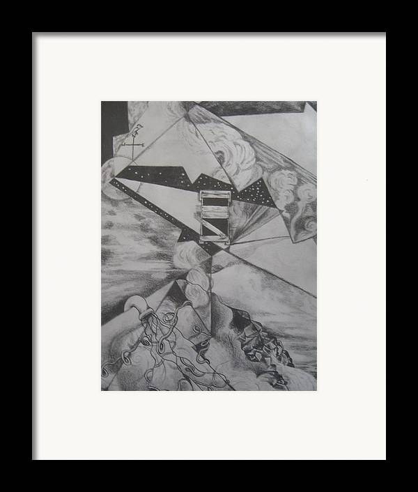 Farmhouse Framed Print featuring the drawing Farmhouse Abstraction by Theodora Dimitrijevic